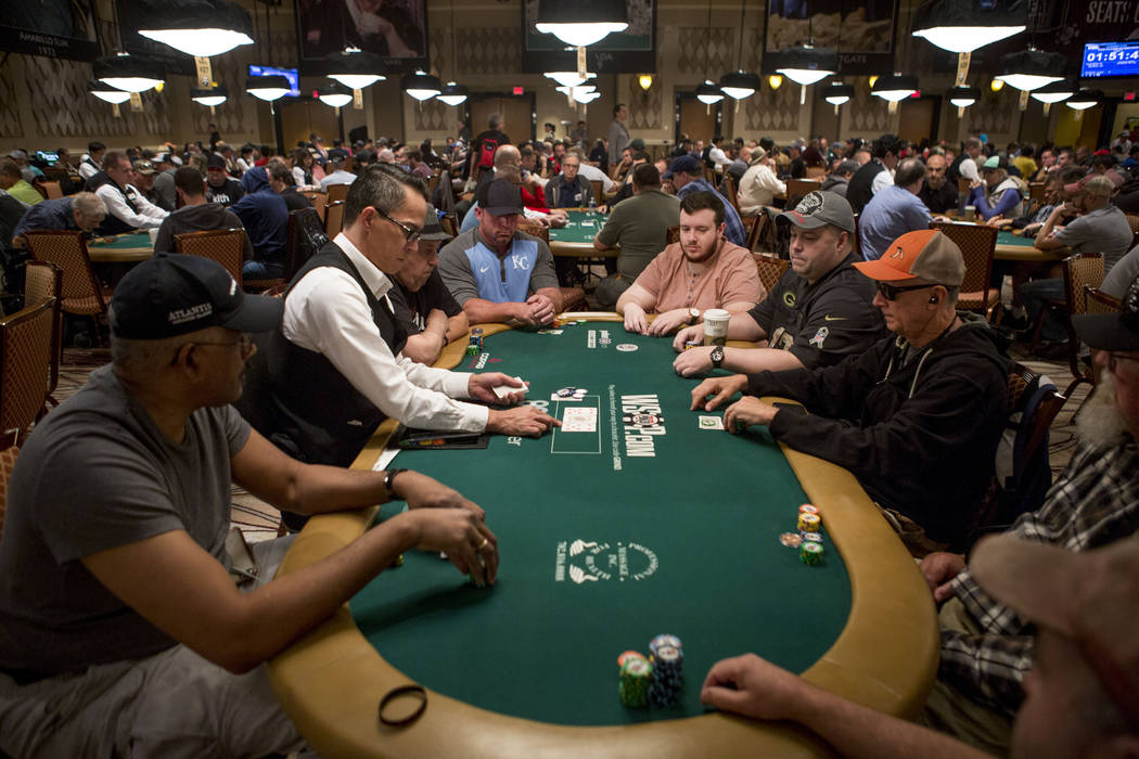 People participate in the World Series of Poker $10,000 no-limit hold 'em Main Event at the Rio Convention Center in Las Vegas, Monday, July 10, 2017. Elizabeth Brumley Las Vegas Review-Journal