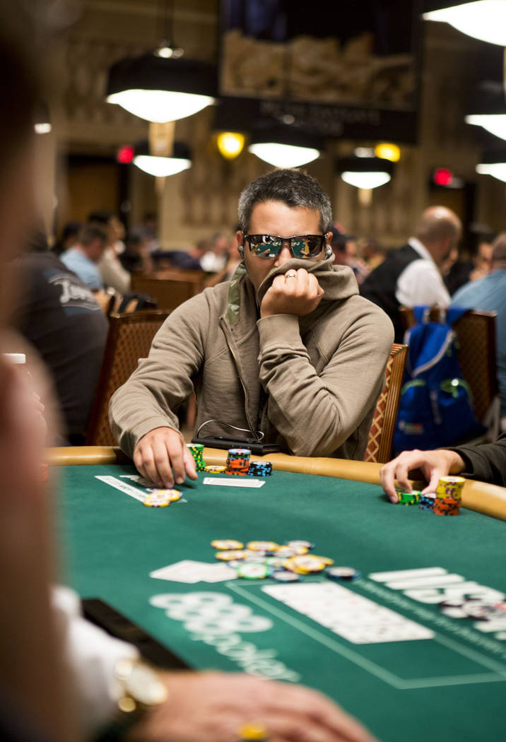 Mark  Babekov plays in the the World Series of Poker $10,000 no-limit hold 'em Main Event at the Rio Convention Center in Las Vegas, Monday, July 10, 2017. Elizabeth Brumley Las Vegas Review-Journal