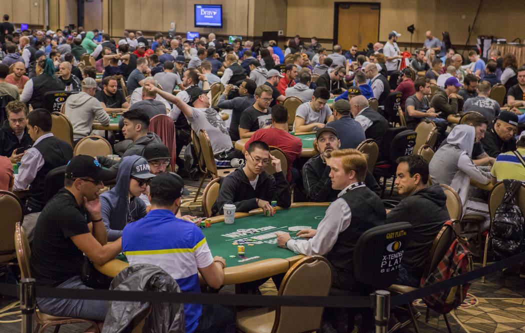 The World Series of Poker $10,000 no-limit hold 'em Main Event is underway at the Rio Convention Center in Las Vegas, Monday, July 10, 2017. Elizabeth Brumley Las Vegas Review-Journal
