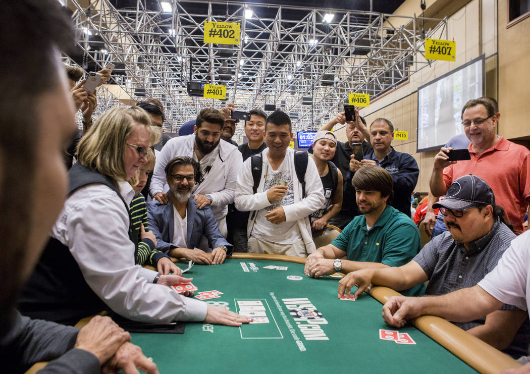 People play in a $10,000 One-Hand-Winner-Take-All satellite at the World Series of Poker at the Rio Convention Center in Las Vegas, Monday, July 10, 2017. Elizabeth Brumley Las Vegas Review-Journal