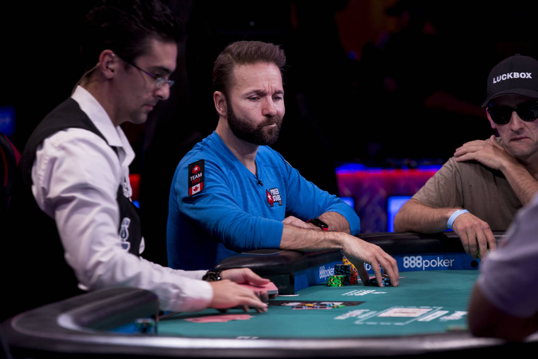 Daniel Negreanu plays in the World Series of Poker $10,000 no-limit hold 'em Main Event at the Rio Convention Center in Las Vegas, Monday, July 10, 2017. Elizabeth Brumley Las Vegas Review-Journal