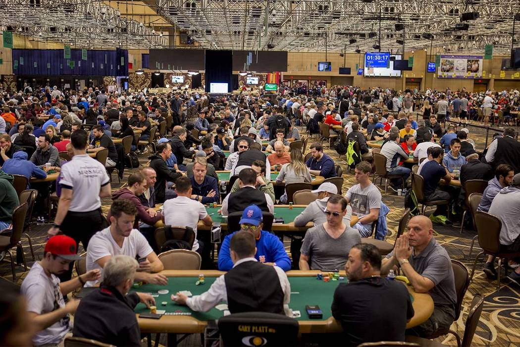 The World Series of Poker $10,000 no-limit hold 'em Main Event is underway at the Rio Convention Center in Las Vegas, Monday, July 10, 2017. (Elizabeth Brumley Las Vegas Review-Journal)