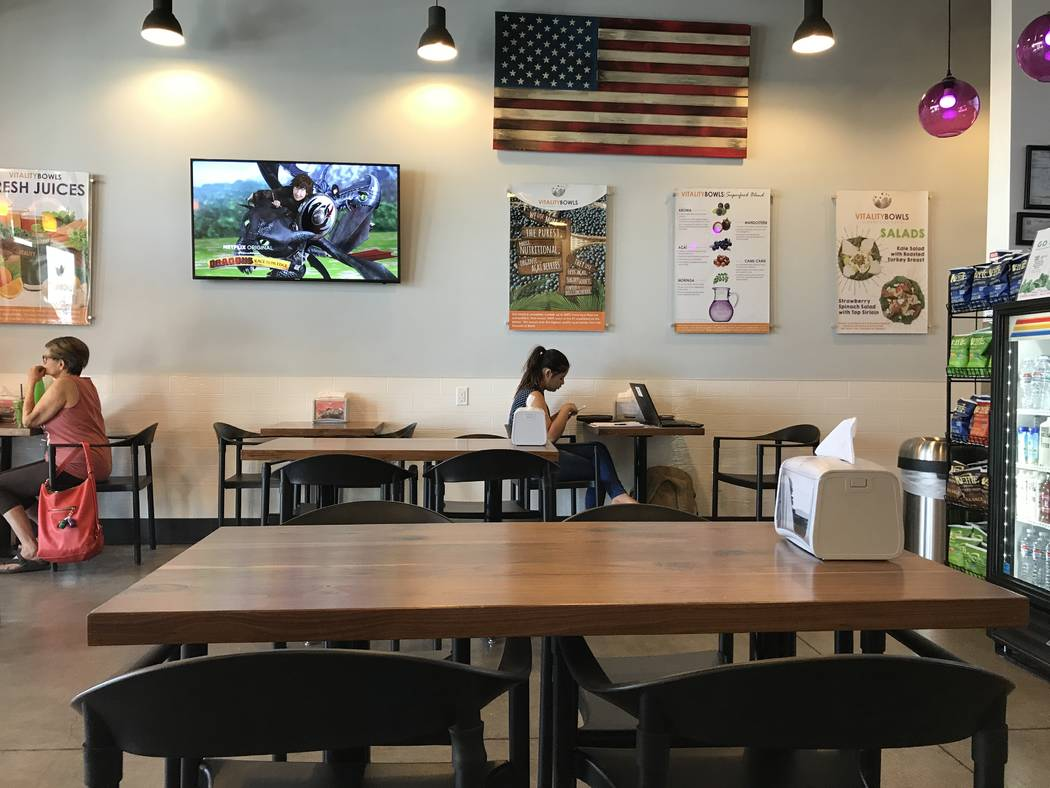 """Vitality Bowls, a fast-casual """"superfood cafe,"""" opened in mid-April at the Albertson's Shopping Center at 4870 Blue Diamond Rd in the southwest valley. (Madelyn Reese/View) @MadelynGReese"""