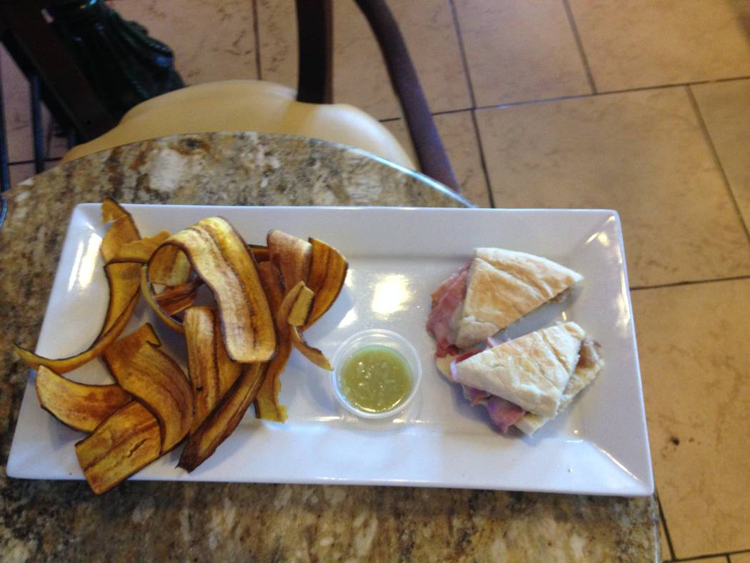 The mini cubano sandwich appetizer with plantain chips and garlic sauce at the Florida Cafe Cuban Bar and Grill on July 4, 2017. (Katelyn Newberg/Las Vegas Review-Journal)