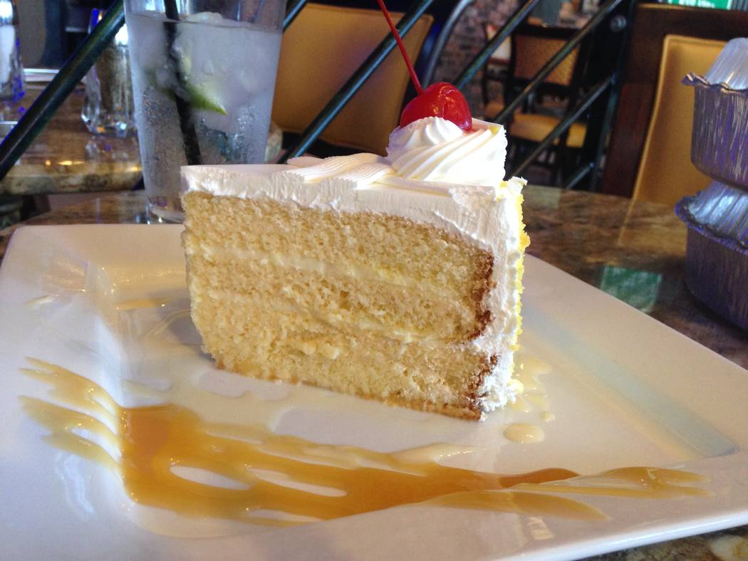 The tres leches cake at the Florida Cafe Cuban Bar and Grill on July 4, 2017. (Katelyn Newberg/Las Vegas Review-Journal)