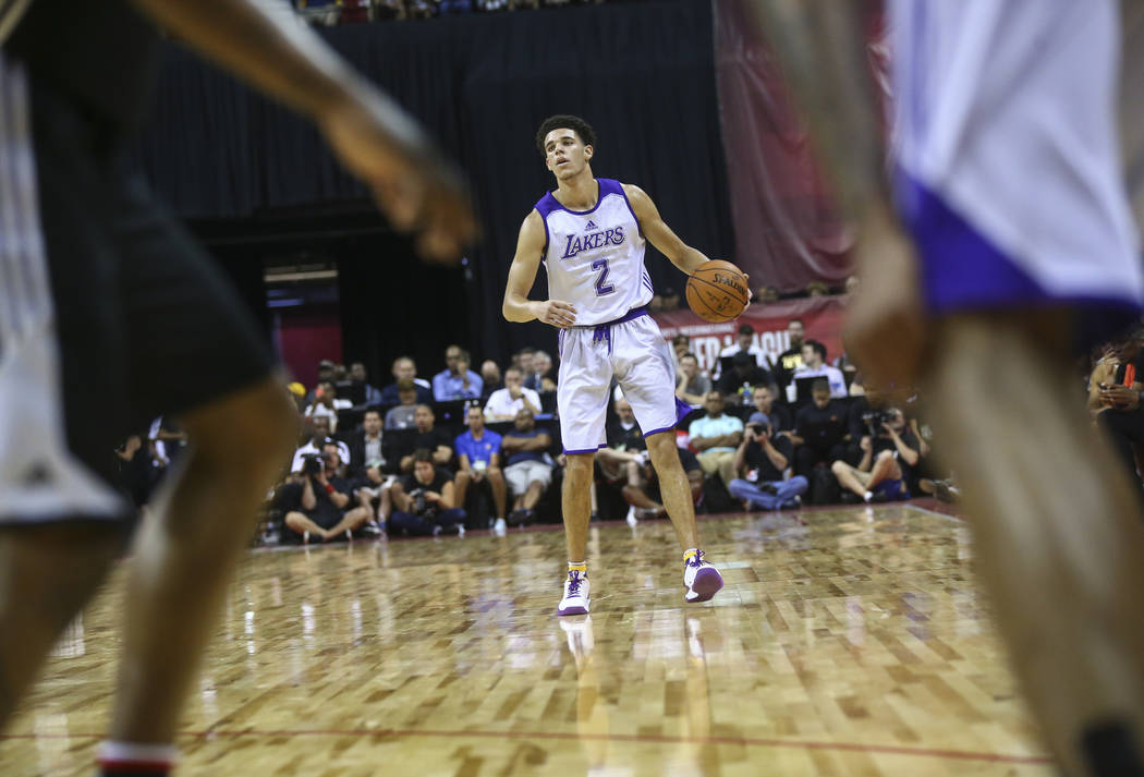 Los Angeles LakersՠLonzo Ball during a basketball game against the Los Angeles Clippers at the NBA Summer League at the Thomas & Mack Center in Las Vegas on Friday, July 7, 2017. Chase S ...