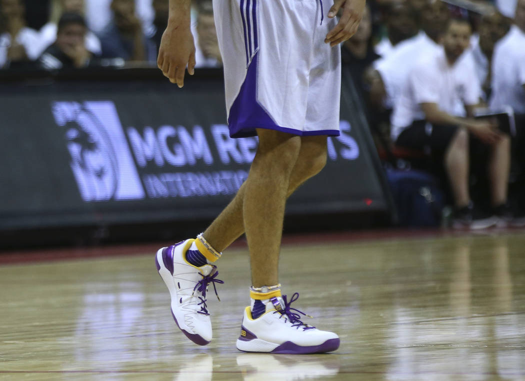 Los Angeles LakersՠLonzo Ball shoes during a basketball game against the Los Angeles Clippers at the NBA Summer League at the Thomas & Mack Center in Las Vegas on Friday, July 7, 2017. C ...