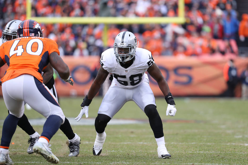 Oakland Raiders outside linebacker Neiron Ball (58) during an NFL football game between the Denver Broncos and the Oakland Raiders Sunday, January 1, 2017, in Denver, CO. (Tom Hauck via AP)