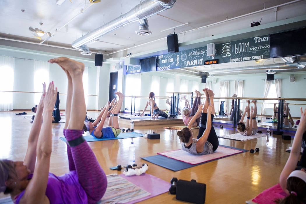 A Tru Hot Pilates class is underway at TruFusion off of Eastern Avenue in Las Vegas, Tuesday, July 10, 2017. (Elizabeth Brumley/Las Vegas Review-Journal)