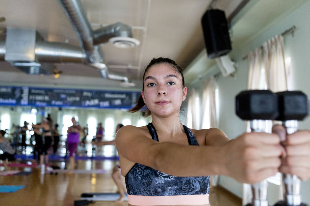 Skye Stovall participates in a Tru Hot Pilates class at TruFusion on Eastern Avenue in Las Vegas, Tuesday, July 10, 2017. (Elizabeth Brumley/Las Vegas Review-Journal)