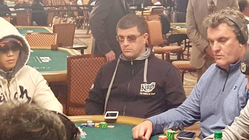 Leon Tsoukernik, who is at the center of a lawsuit over $3 million exchanged at a poker table inside Aria, plays the first day of the World Series of Poker Main Event on Saturday July 8, 2017. (Da ...