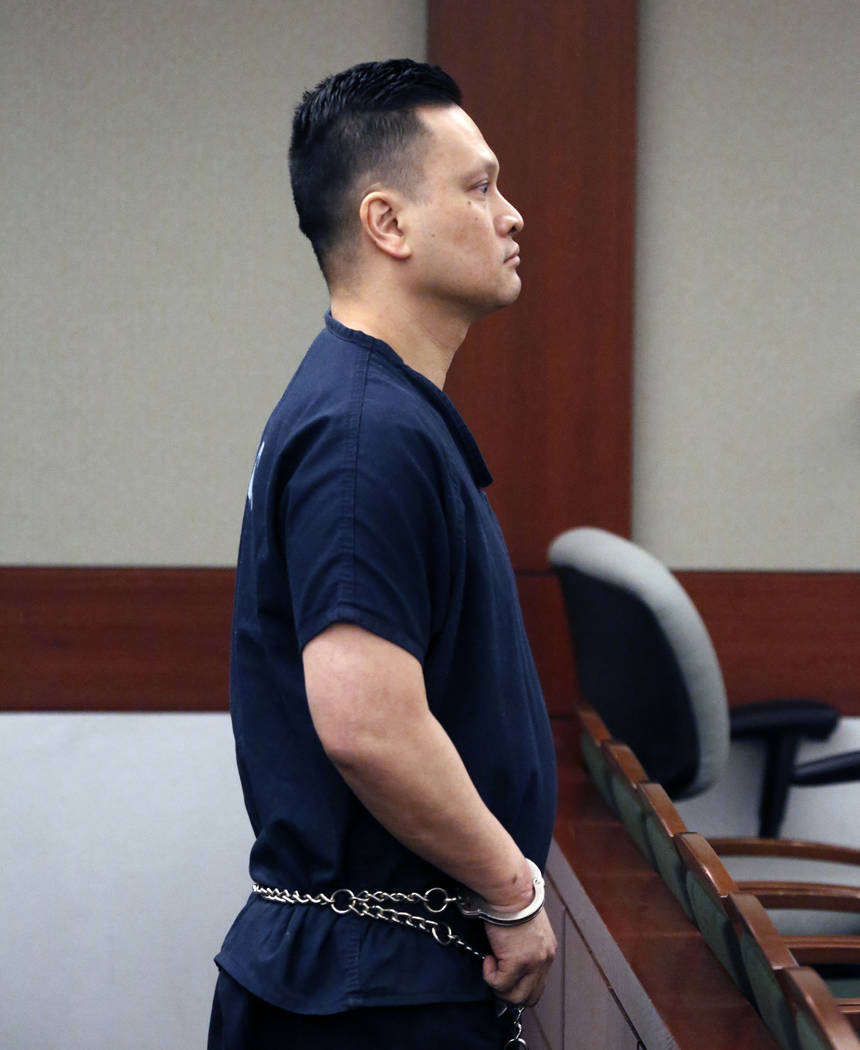 Las Vegas doctor Binh Chung listens to his sentencing at the Regional Justice Center on Monday, May 22, 2017, in Las Vegas. Judge sentenced Chung to 50 years to life behind bars. (Bizuayehu Tesfay ...