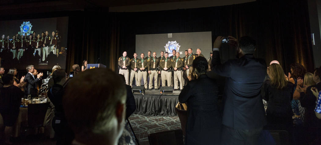 Officers are honored with the Medal of Valor during the Metropolitan Police Department's Best of the Badge gala at the Red Rock Resort in Las Vegas, Friday, July 7, 2017. Elizabeth Brumley Las Veg ...