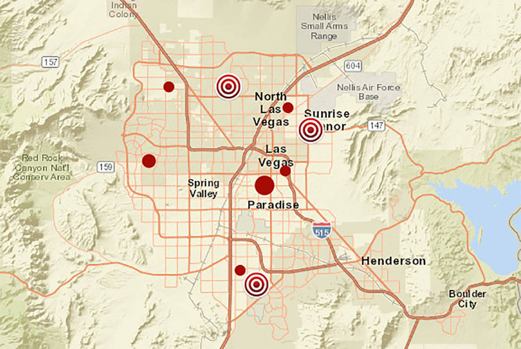 Map of power outages in Las Vegas Valley (NV Energy website)