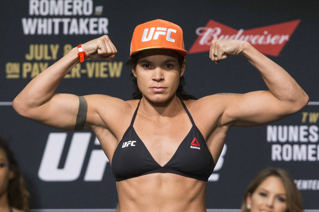 Amanda Nunes during the UFC 213 ceremonial weigh-ins at The Park Theater in Las Vegas on Friday, July 7, 2017. Erik Verduzco Las Vegas Review-Journal @Erik_Verduzco
