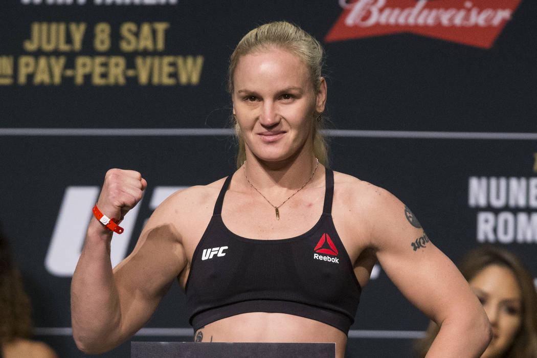 Valentina Shevchenko during the UFC 213 ceremonial weigh-ins at The Park Theater in Las Vegas on Friday, July 7, 2017. Erik Verduzco Las Vegas Review-Journal @Erik_Verduzco