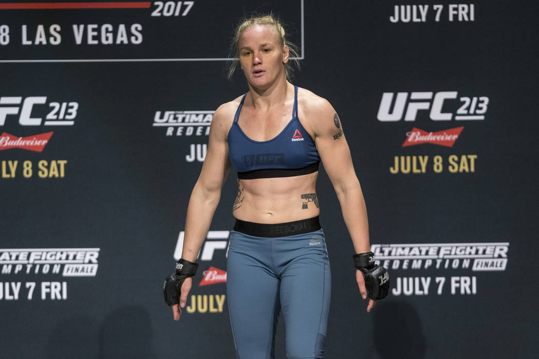 Valentina Shevchenko during UFC open workouts at the Park Theater inside Monte Carlo hotel-casino in Las Vegas on Wednesday, July 5, 2017. Erik Verduzco Las Vegas Review-Journal @erik_verduzco