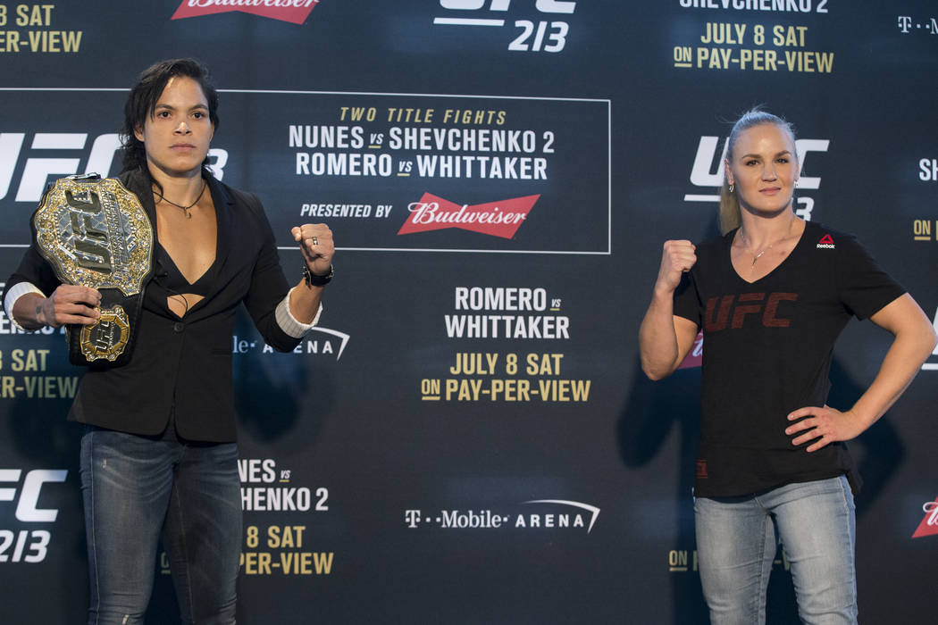 Amanda Nunes, left, and Valentina Shevchenko, during UFC 213 Ultimate Media Day at T-Mobile Arena in Las Vegas on Thursday, July 6, 2017. Erik Verduzco Las Vegas Review-Journal @Erik_Verduzco