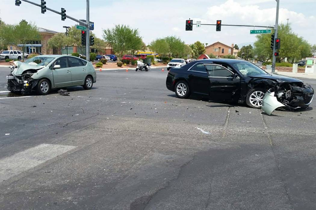 Cars involved in a fatal accident Saturday morning at Craig Road and Tenaya Way are shown in this image provided by the Las Vegas Metropolitan Police Traffic Bureau.