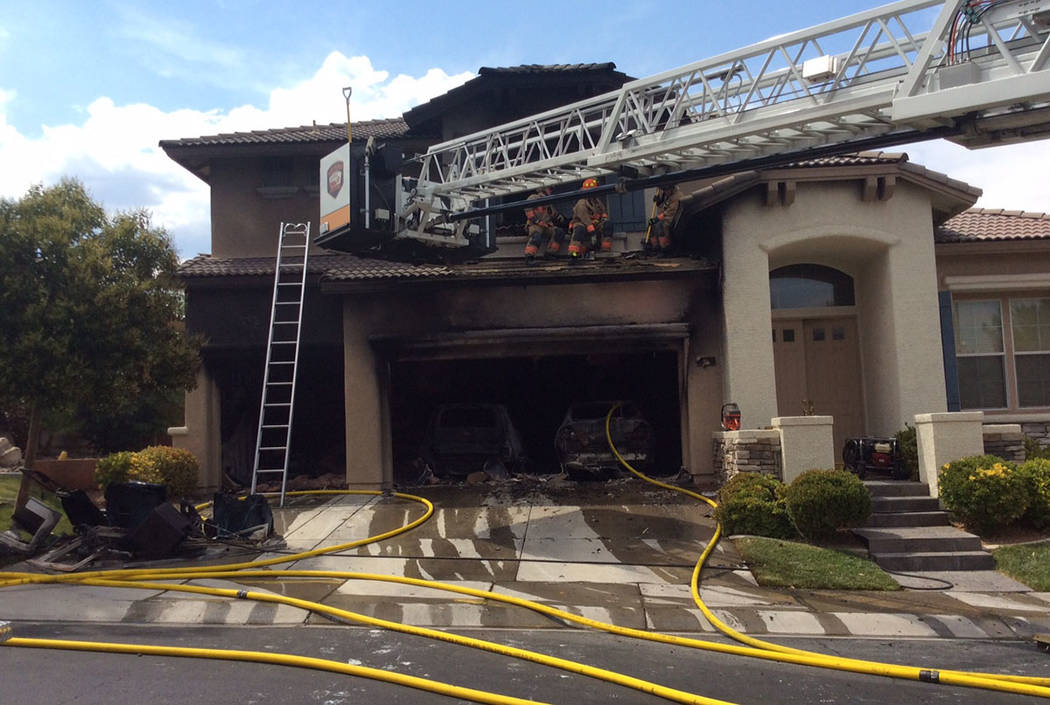 A garage fire hit this home on Pine Leaf Drive, near Summerlin Parkway and the 215 Beltway, in Las Vegas. (Las Vegas Fire & Rescue)