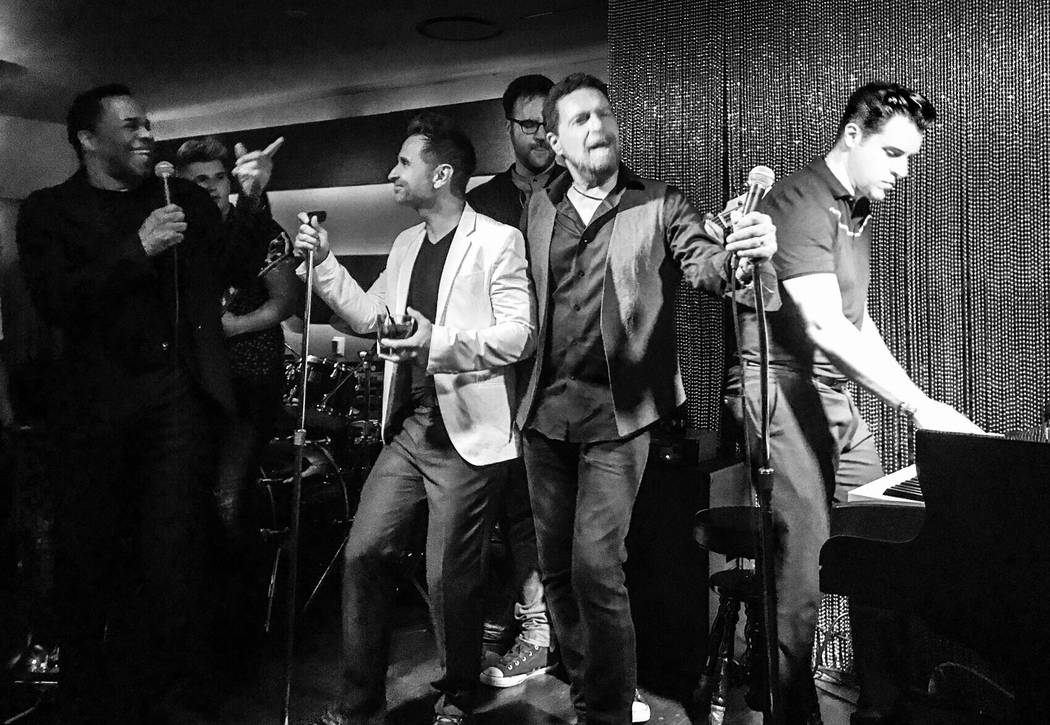 Earl Turner, Travis Cloer, Clint Holmes and Frankie Moreno jam at Rush Lounge at the Golden Nugget on Thursday, July 8, 2017. (Tory Cooper)