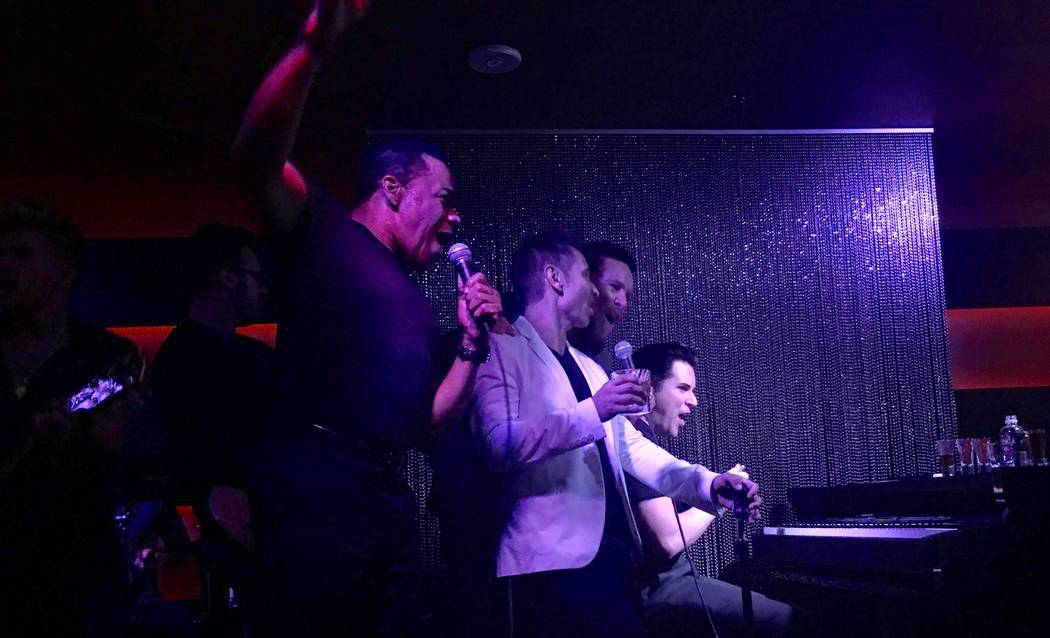 Earl Turner, Travis Cloer, Clint Holmes and Frankie Moreno jam at Rush Lounge at the Golden Nugget on Thursday, July 8, 2017. (John Katsilometes/Las Vegas Review-Journal) @JohnnyKats