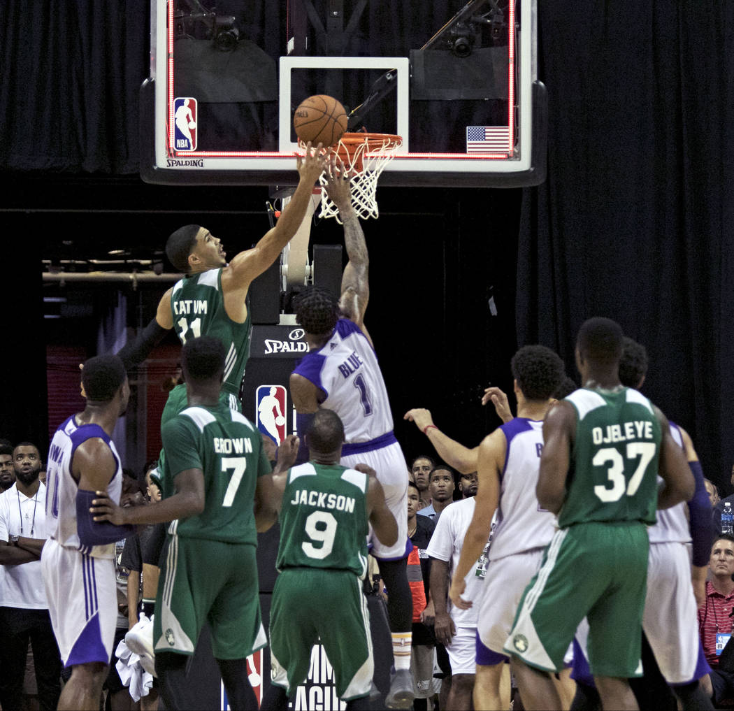 Boston Celtics guard Jayson Tatum (11) scores during the Celtics NBA Summer League game against the Los Angeles Lakers at Thomas and Mack Center in Las Vegas on Saturday, July 8, 2017. Gabriella B ...