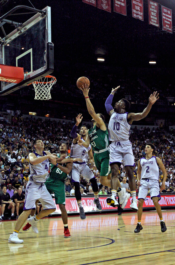 Boston Celtics guard Abdel Nader (51) scores during the Celtics NBA Summer League game against the Los Angeles Lakers at Thomas and Mack Center in Las Vegas on Saturday, July 8, 2017. Gabriella Be ...
