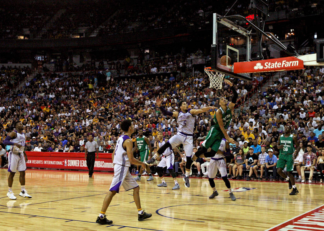 Boston Celtics guard Jayson Tatum (51) jumps to score during the Celtics NBA Summer League game against the Los Angeles Lakers at Thomas and Mack Center in Las Vegas on Saturday, July 8, 2017. Gab ...