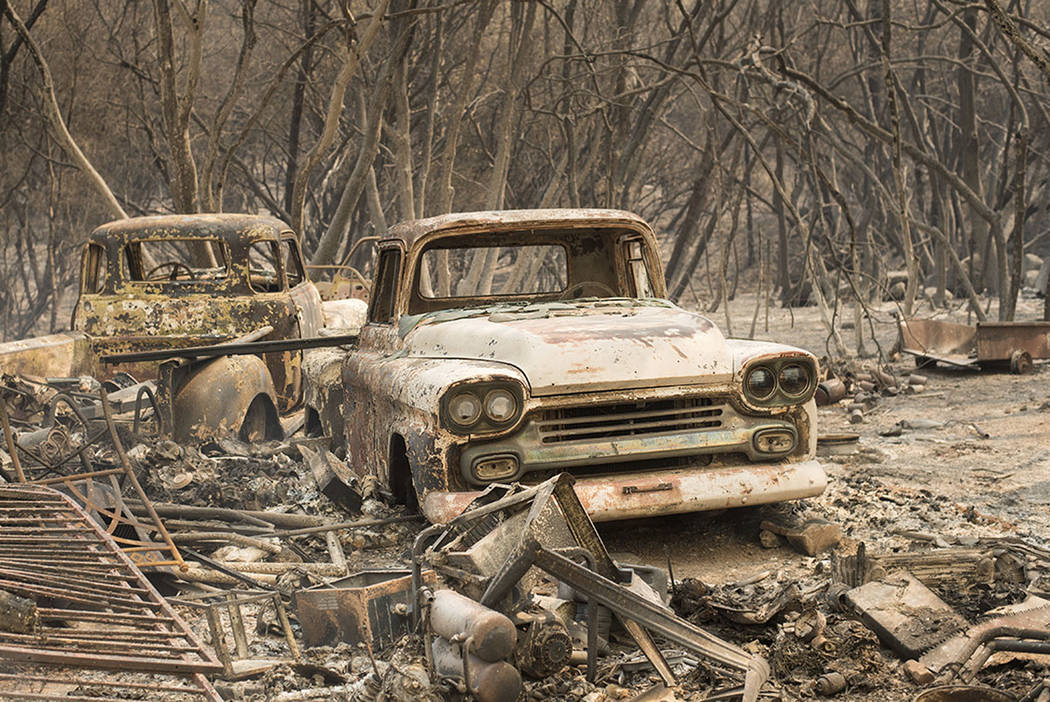 Vintage trucks burned by the Wall fire rest in a grove near Oroville, Calif., on Saturday, July 8, 2017. (AP Photo/Noah Berger)
