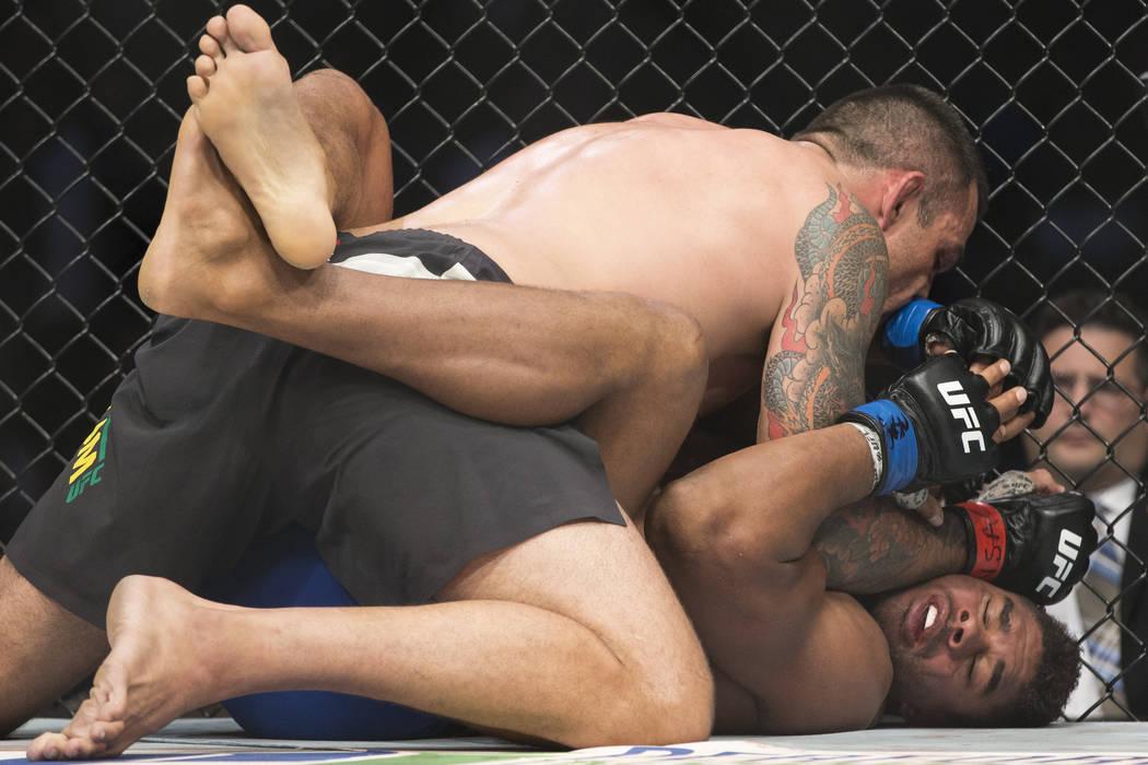 Fabricio Werdum, left, battles Alistair Overeem in the UFC 213 heavyweight bout at T-Mobile Arena in Las Vegas, Saturday, July 8, 2017. Overeem won by majority decision. Erik Verduzco Las Vegas Re ...
