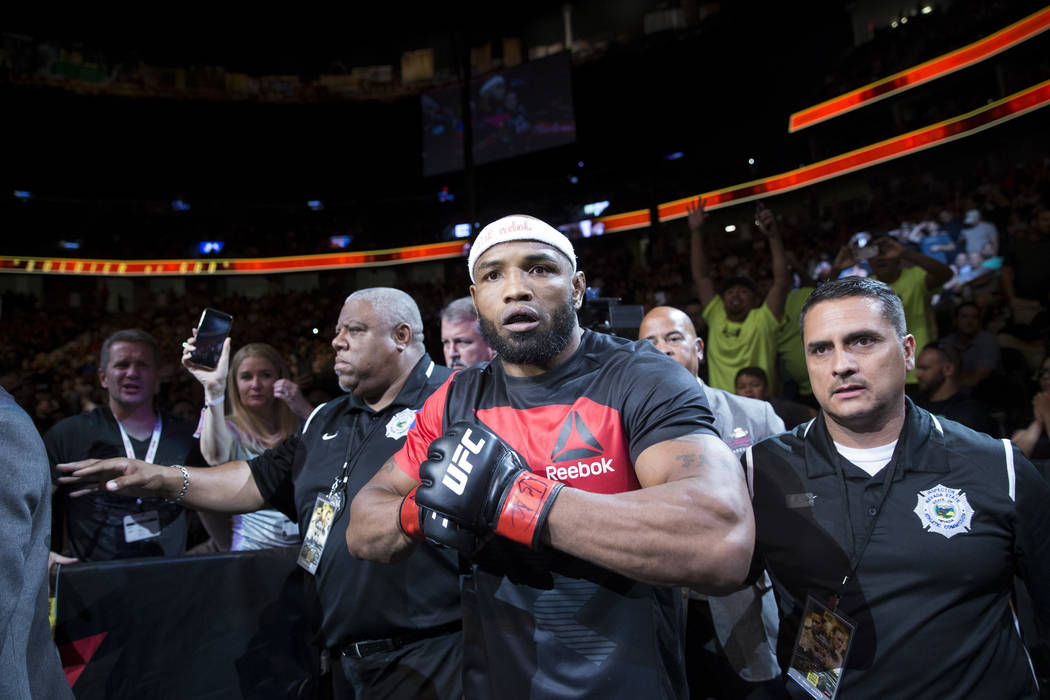 Yoel Romero walks to the octagon for his fight against Robert Whittaker (not pictured) in the UFC 213 interim middleweight title bout at T-Mobile Arena in Las Vegas, Saturday, July 8, 2017. Whitta ...