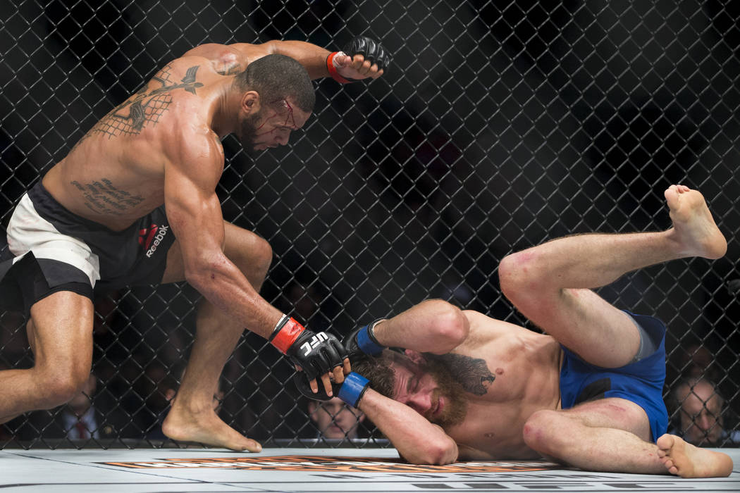Thiago Santos, left, battles Gerald Meerschaert in the UFC 213 middleweight bout at T-Mobile Arena in Las Vegas, Saturday, July 8, 2017. Santos won by technical knockout. Erik Verduzco Las Vegas R ...