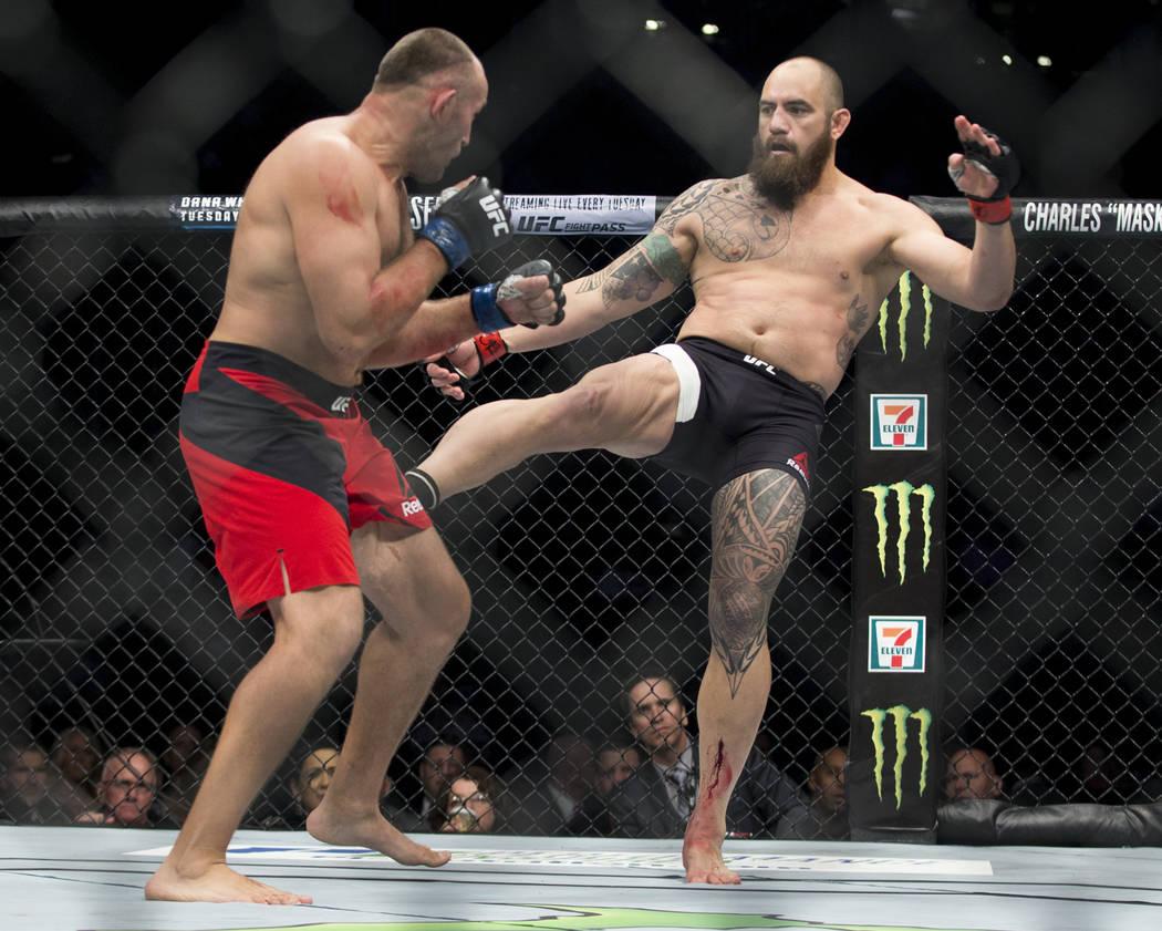 Aleksei Oleinik, left, battles Travis Browne in the UFC 213 heavyweight bout at T-Mobile Arena in Las Vegas, Saturday, July 8, 2017. Oleinik won by way of submission. Erik Verduzco Las Vegas Revie ...