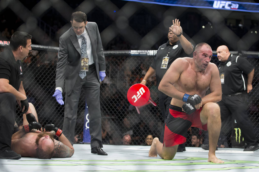 Aleksei Oleinik, right, wins by way of submission against  Travis Browne in the UFC 213 heavyweight bout at T-Mobile Arena in Las Vegas, Saturday, July 8, 2017. Erik Verduzco Las Vegas Review-Jour ...