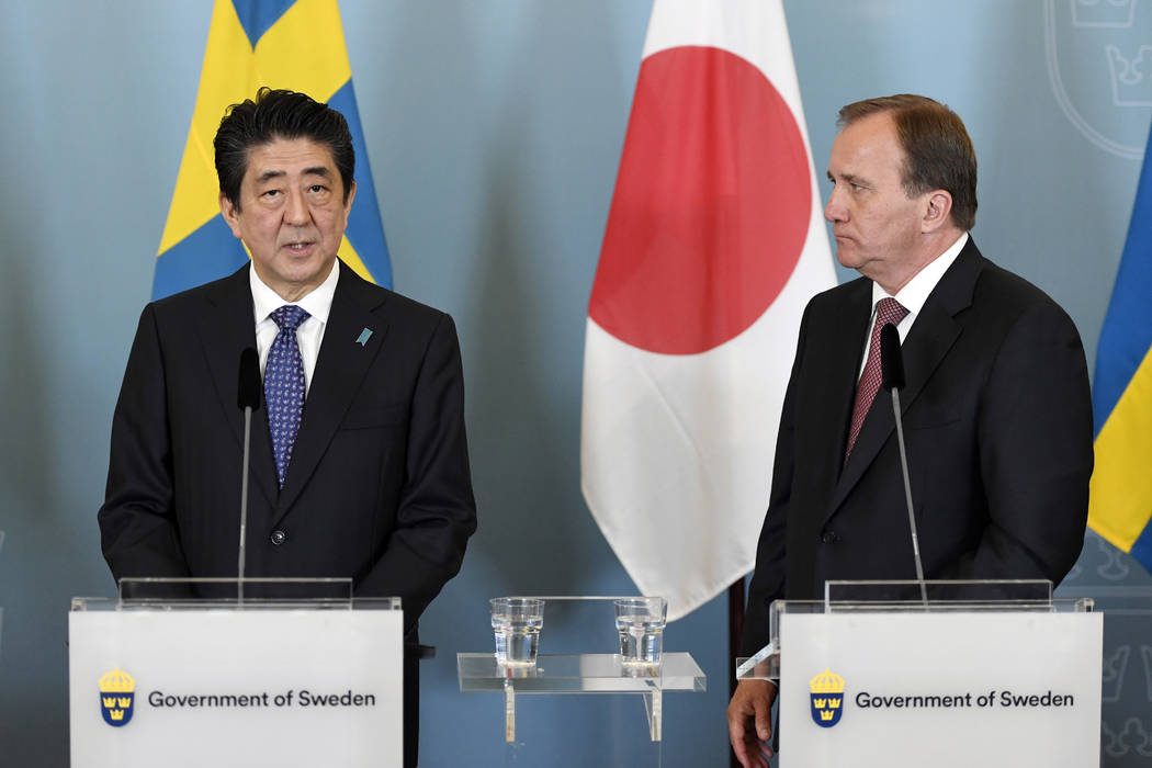 Swedish prime minister Stefan Lofven, right, and Japanese Prime Minister Shinzo Abe attend a press conference after their meeting in Stockholm, Sunday, July 9, 2017. Shinzo Abe is in Stockholm for ...