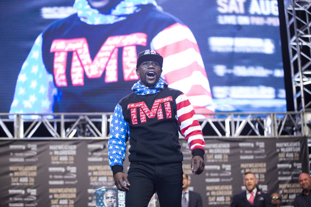 Boxer Floyd Mayweather Jr., during a world tour event to promote his upcoming fight against UFC fighter Conor McGregor, at Staples Center in Los Angeles, Calif., on Tuesday, July 11, 2017. Erik Ve ...