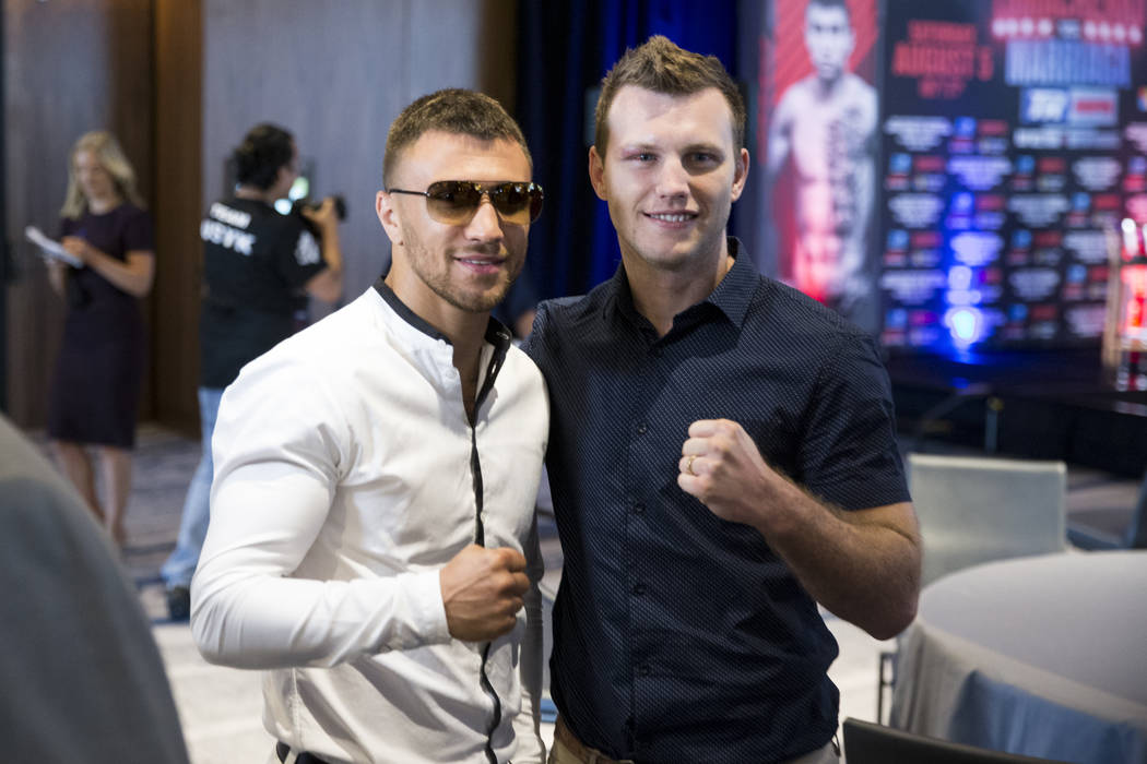 Boxers Vasyl Lomachenko, left, and Jeff Horn during a press conference in Los Angeles, Calif., on Wednesday, July 12, 2017. Erik Verduzco Las Vegas Review-Journal @Erik_Verduzco