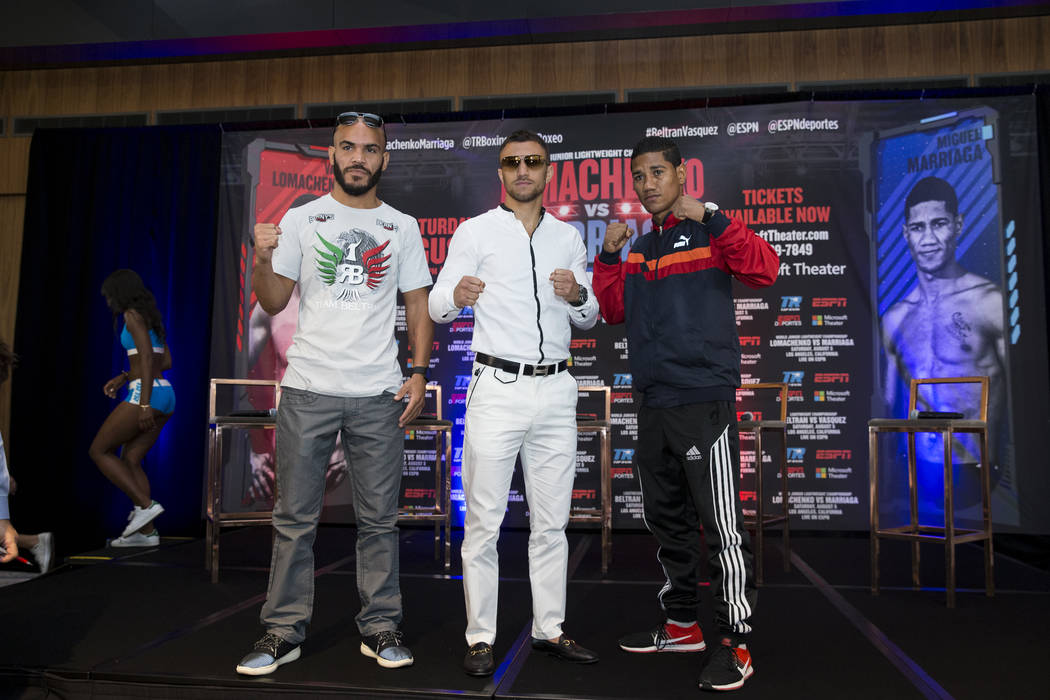 Boxers Raymundo Beltran, from left, Vasyl Lomachenko, and Miguel Marriaga, during a boxing press conference in Los Angeles, Calif., on Wednesday, July 12, 2017. Erik Verduzco Las Vegas Review-Jour ...