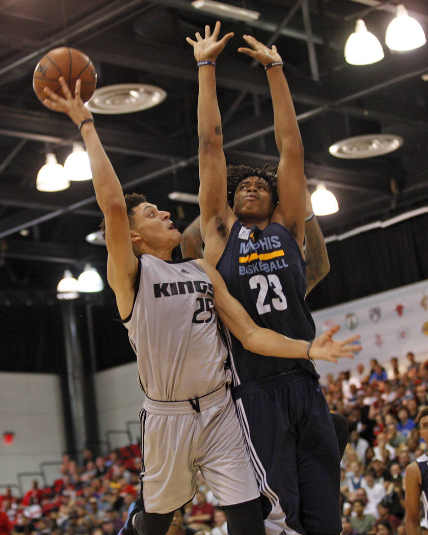 Sacramento Kings Justin Jackson (25) attempts to make a basket against the Memphis Grizzlies Deyonta Davis (23) during the NBA Summer League on Sunday, July 9, 2017, at the Thomas & Mack Cente ...