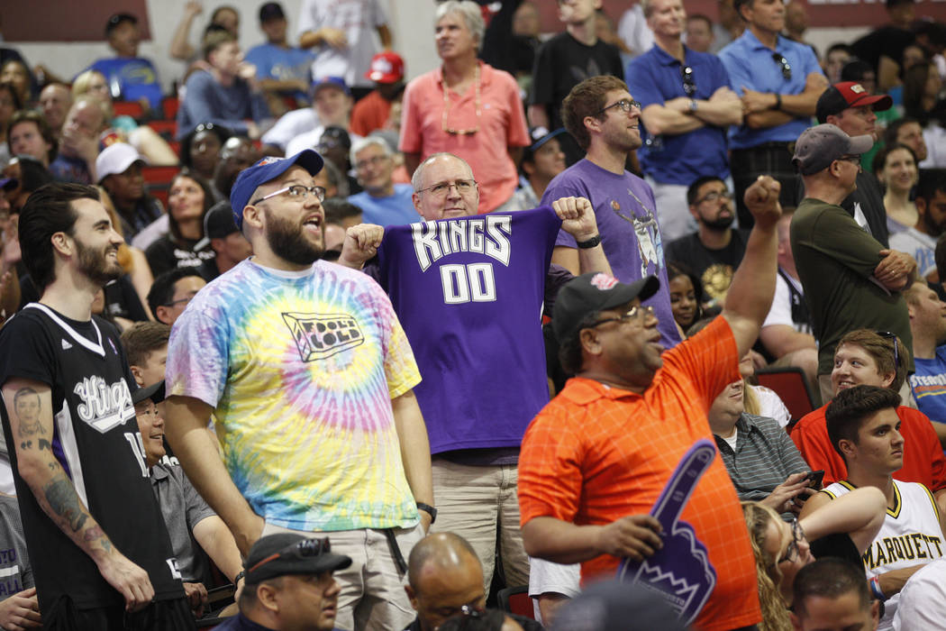 Sacramento Kings fans cheer their team on during the NBA Summer League against the Memphis Grizzlies on Sunday, July 9, 2017, at the Thomas & Mack Center in Las Vegas. Rachel Aston/Las Vegas R ...