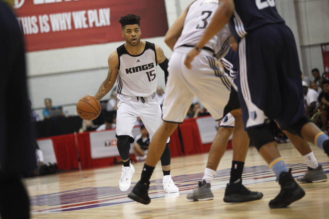 Sacramento Kings Frank Mason (15) dribbles across the court during the NBA Summer League game against the Memphis Grizzlies on Sunday, July 9, 2017, at the Thomas & Mack Center in Las Vegas. R ...