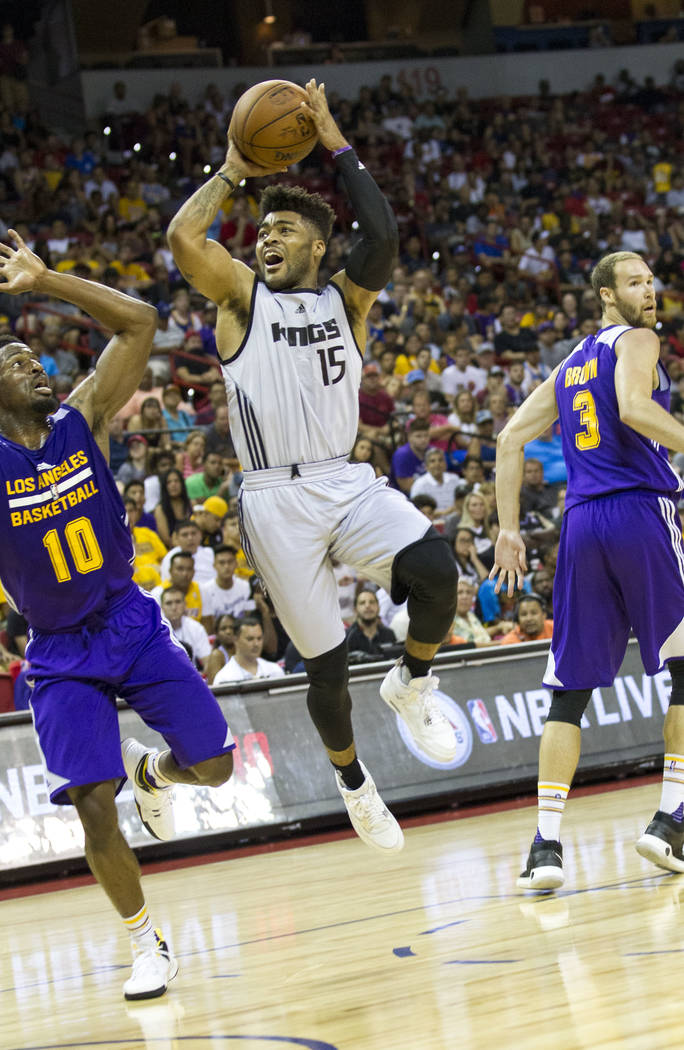 Sacramento Kings point guard Frank Mason III (15) shoots against the Los Angeles Lakers during the NBA summer league at the Thomas & Mack Center, Monday, July 10, 2017. Richard Brian Las Vegas ...