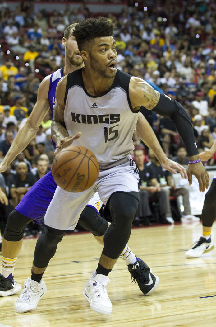 Sacramento Kings point guard Frank Mason III (15) looks for a pass against the Los Angeles Lakers during the NBA summer league at the Thomas & Mack Center, Monday, July 10, 2017. Richard Brian ...