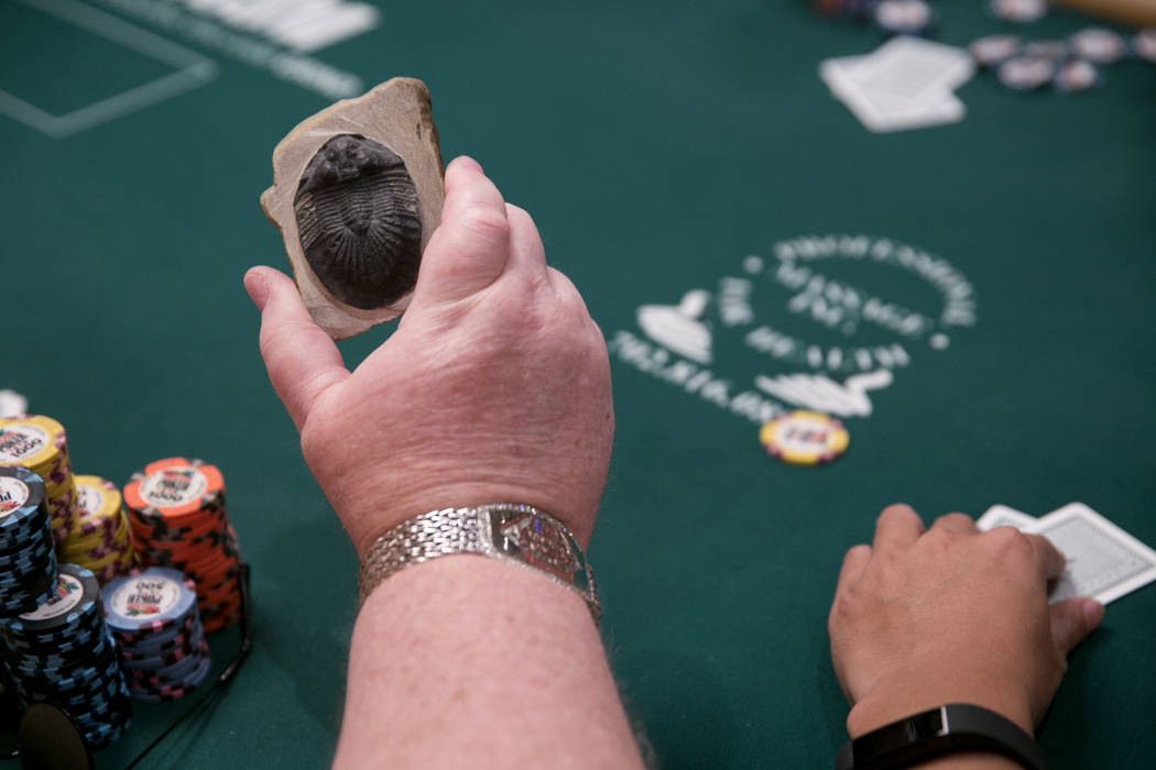 Greg Raymer shows off his fossil during the World Series of Poker at the Rio Convention Center in Las Vegas, Tuesday,July 11, 2017.  Gabriella Angotti-Jones Las Vegas Review-Journal @gabriellaangojo