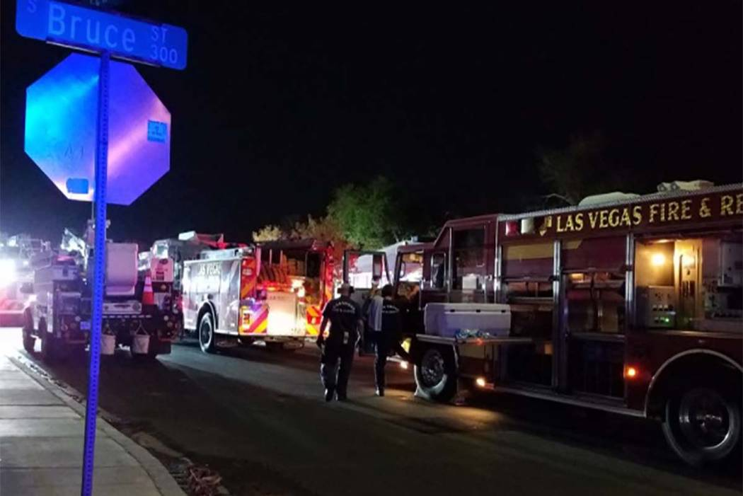 The cause of an  early Monday morning fire at 1726 Lewis Ave. is under investigation. (Mike Shoro/Las Vegas Review-Journal)
