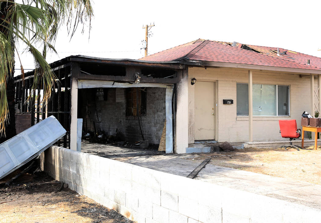 A fire damaged a house at 1726 Lewis Ave., Monday, July 10, 2017, in Las Vegas. The family escaped unharmed.  (Bizuayehu Tesfaye/Las Vegas Review-Journal) @bizutesfaye