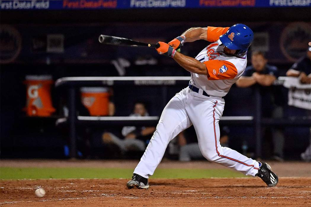 Jul 6, 2017; Port St. Lucie, FL, USA; St. Lucie Mets designated hitter Tim Tebow (15) doubles in the eighth inning against the Charlotte Stone Crabs at First Data Field. Mandatory Credit: Jasen Vi ...