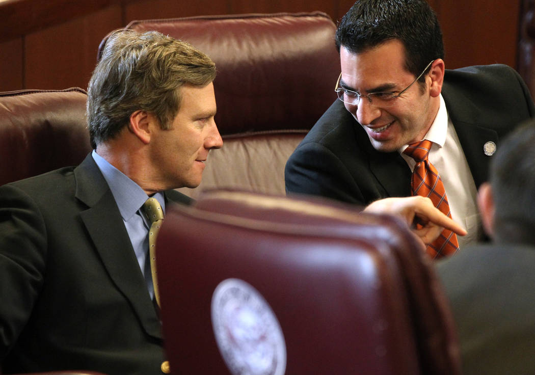 Greg Brower, left, a former Republican state senator from Reno, talks to Ruben Kihuen, D-Las Vegas, in 2011. Brower has come under fire in a sex discrimination case when he led the U.S. Attorney's ...