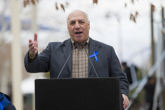 Las Vegas Councilman Anthony Stavros speaks during the Annual Nevada Law Enforcement Appreciation Day at the Police Memorial Park on Saturday, Jan. 7, 2017, in Las Vegas. (Erik Verduzco/Las Vegas  ...